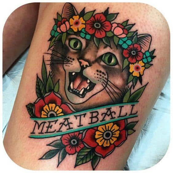 traditional tattoos cat.