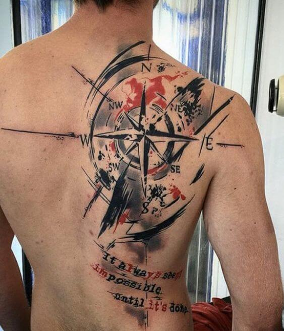 trash polka compass tattoo.