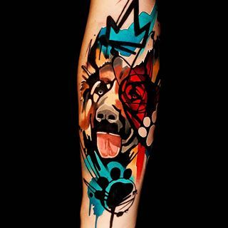 Illustrative tattoos dog.