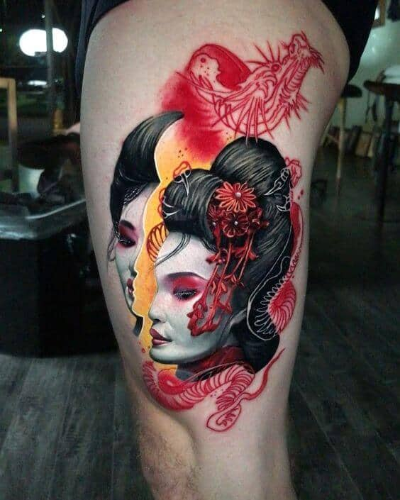 Illustrative tattoos japanese girl.