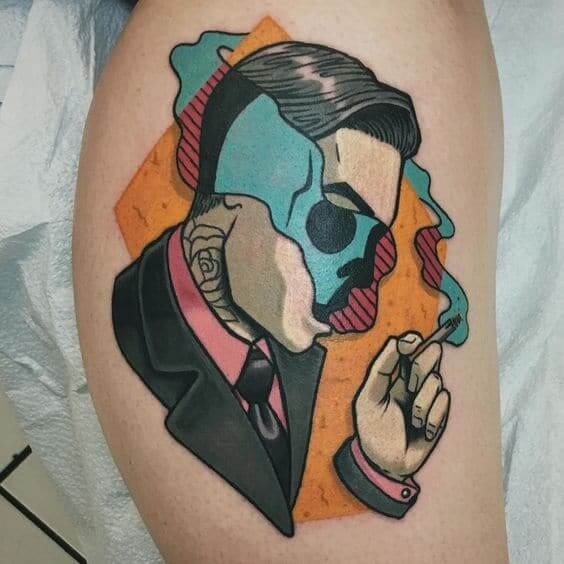Illustrative tattoos smoke and men.