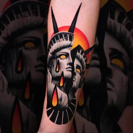 Illustrative tattoos statue of Liberty.