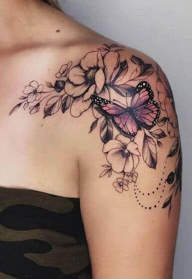 butterfly with flowers tattoo design.