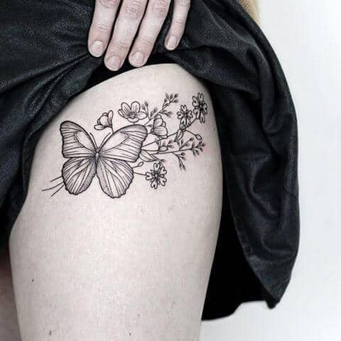 butterfly with flowers tattoo for women.