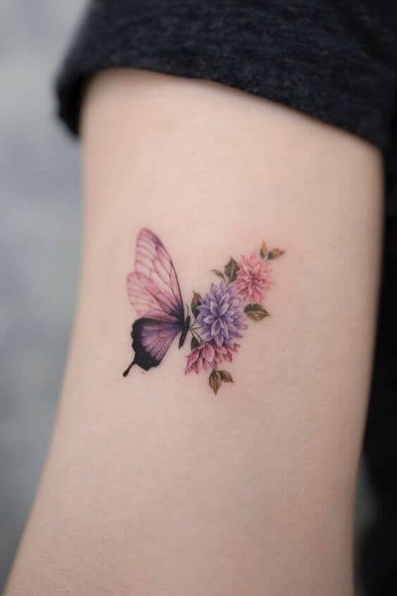 butterfly with flowers tattoo small.