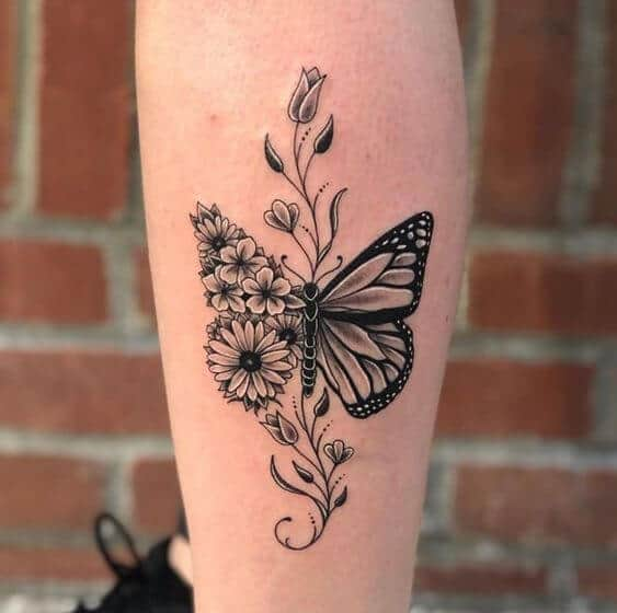 butterfly with flowers tattoo.