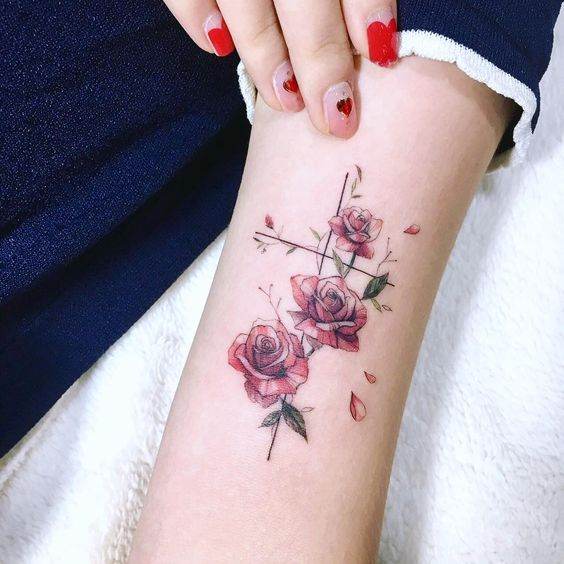 cross with flowers tattoo rose.