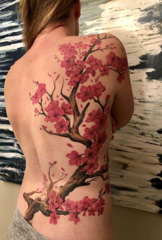 flower tattoos on back colorful.