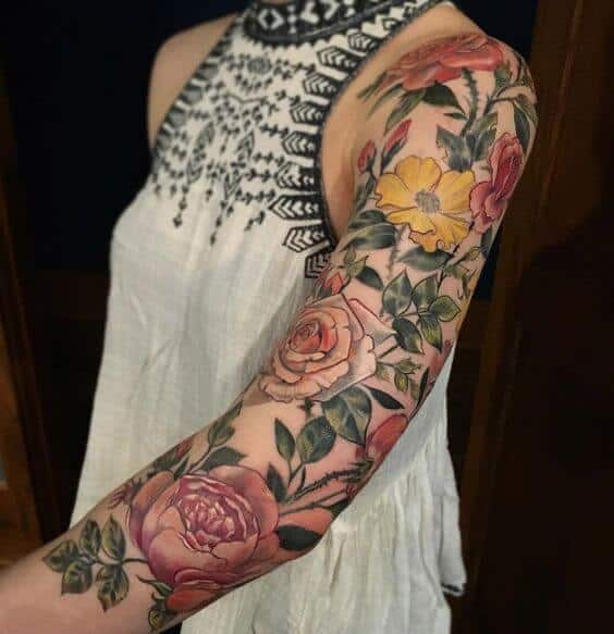 flower tattoos sleeve colorful.