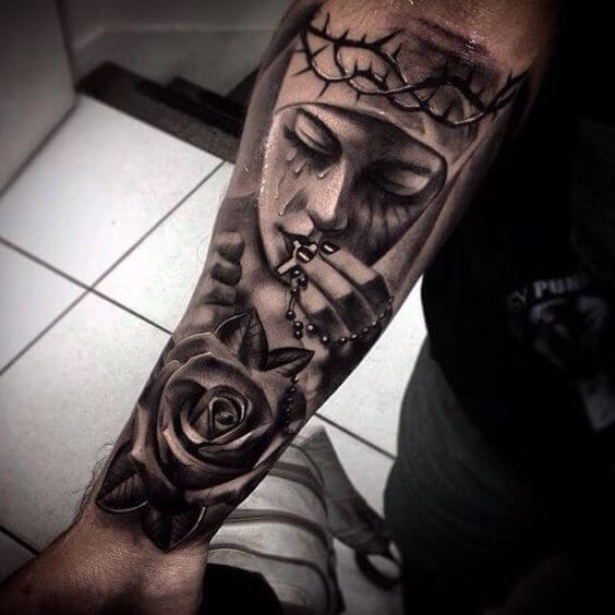 religious tattoos half sleeve ideas.