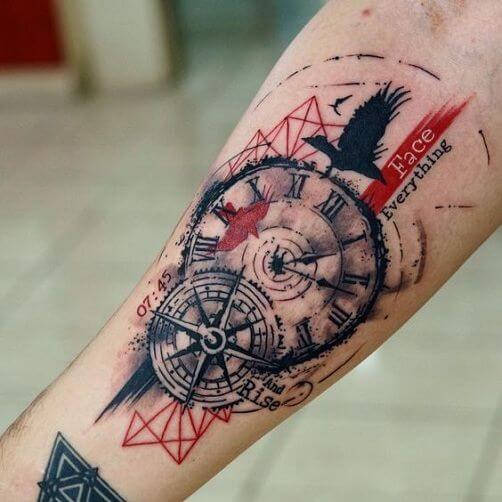 trash polka tattoos compass design.