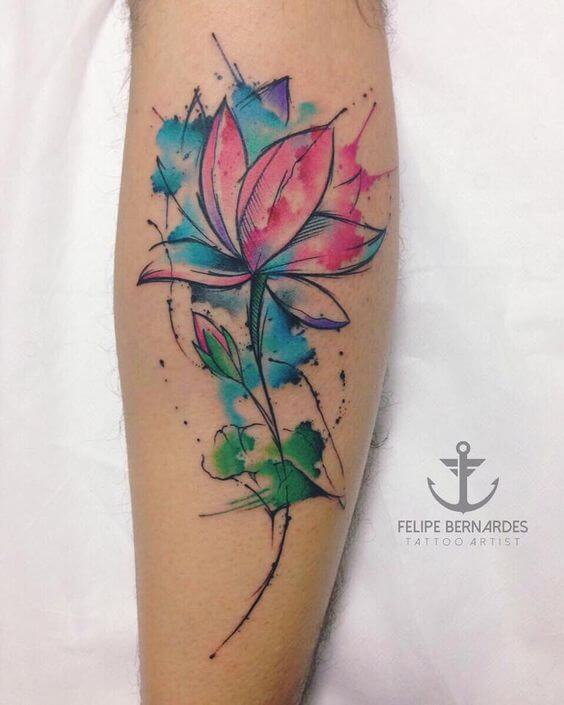 watercolor tattoo flower.