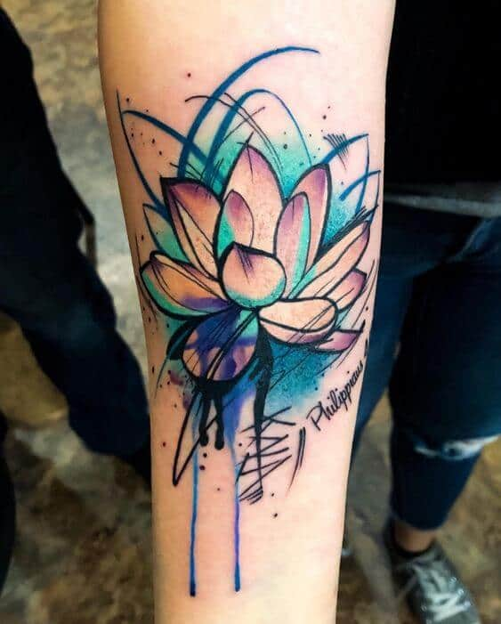 watercolor tattoo lotus.