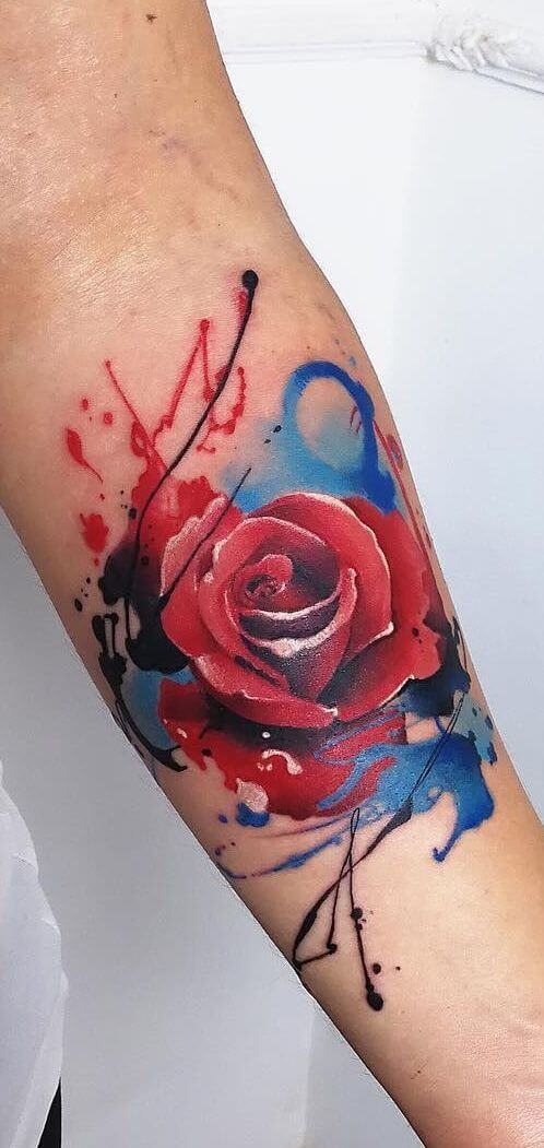 watercolor tattoo rose.