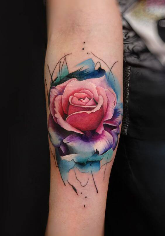 watercolor tattoos rose.